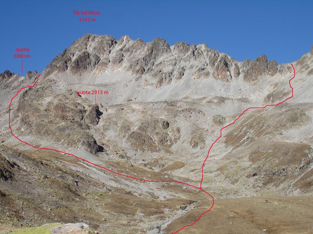 Il Piz Val Müra 3162 m versante SW