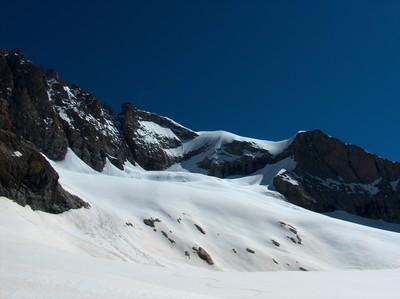 Le versant SW du Râteau et le glacier de la Selle