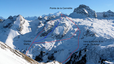 Pointe de la Carmélite (en bleu le couloir NW)