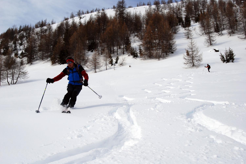 Gianluca in discesa presso Li Piani 2093 m.