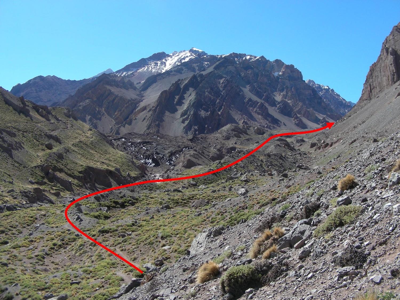 Pasando Confluencia, seguir la senda en direccion a la pared S del Aconcagua