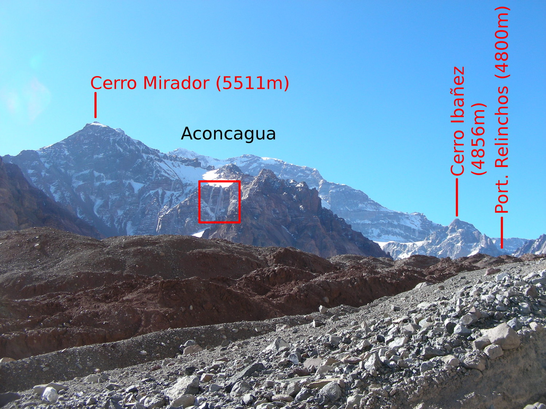 Les cascades du vallon SE du Cerro Mirador (Aconcagua)