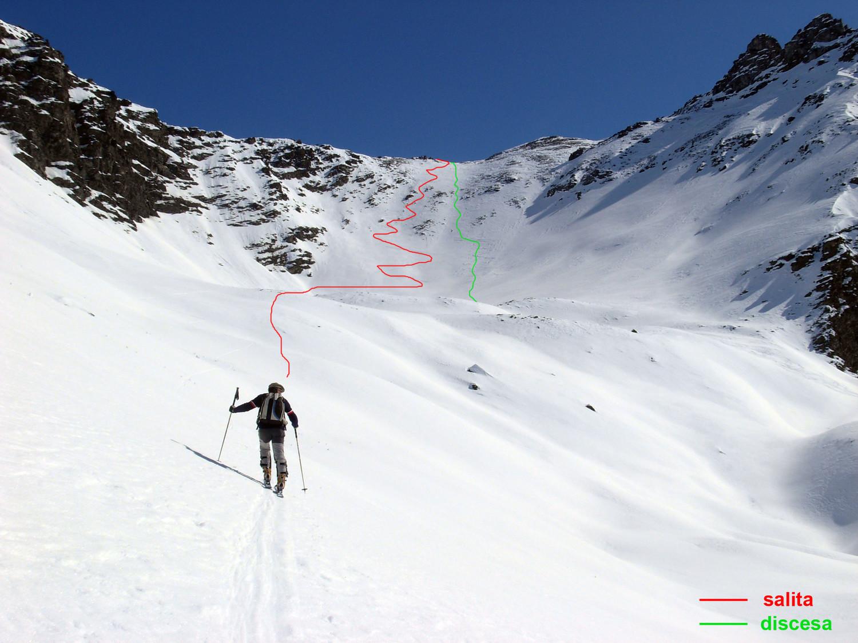 Itinerario di salita e discesa sul ripido pendio finale (dislivello ca. 300 m)