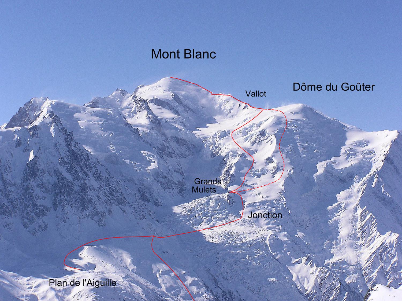Mont Blanc par les Grands Mulets (en pointillés itinéraire par l'arête N du Dôme du Goûter)