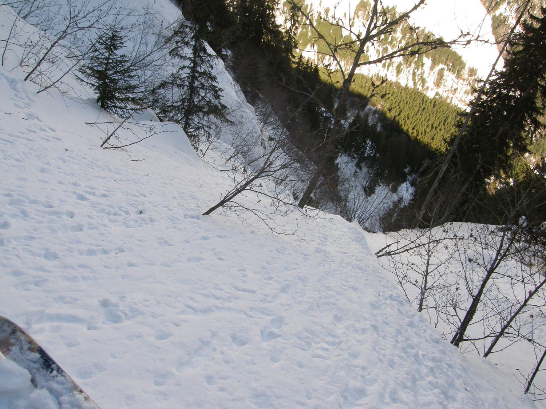 Tentative de descente directe sous la cheminée