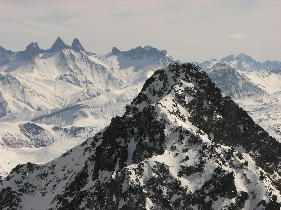 bec d'Arguille devant aiguilles d'Arves, Goléon et Agneaux
