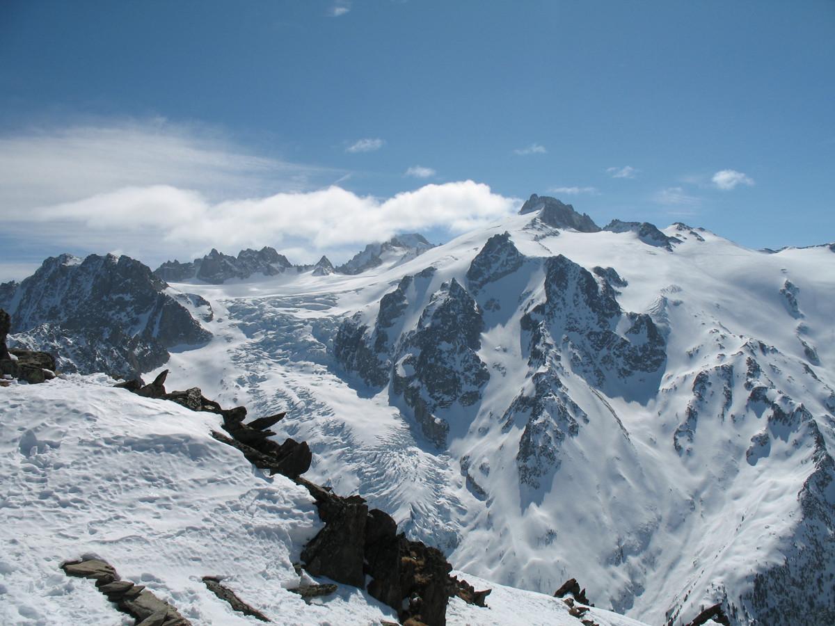 Vue sur le glacier de Trient depuis le sommet de la Pointe Ronde