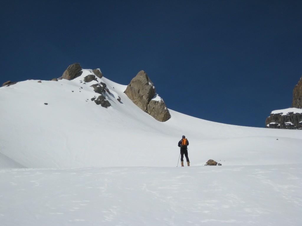Thierry au pied du glacier de Plan Névé