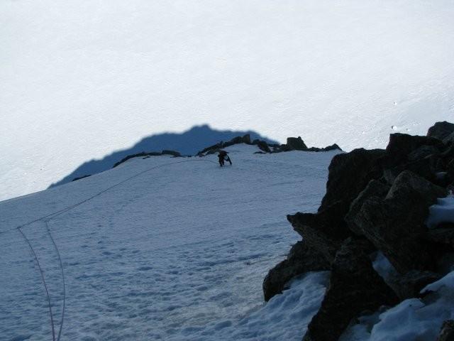Contamine-Grisolle : pente de neige sous la dernière goulotte