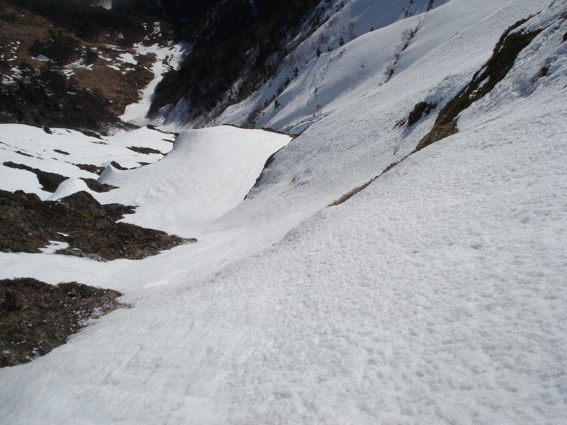Petit passage glacé vers le milieu de la face E du Montaigu