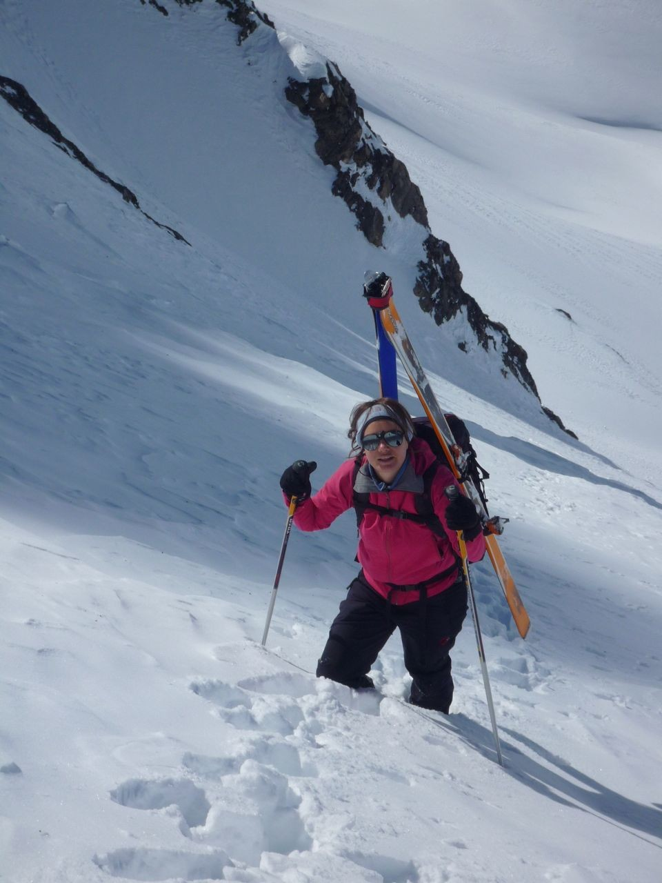 Elise in the upper part of the couloir