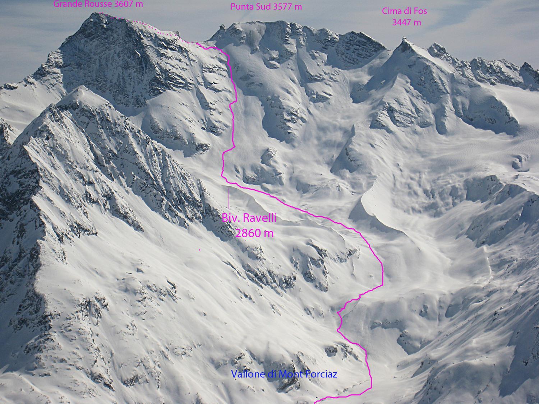 salita alla Grande Rousse vista dalla cima dell'Arp Vieille