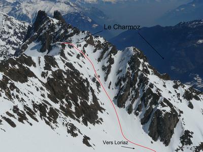 Le Charmoz pointe 2594 m couloir SW (versant Loriaz, Vallorcine)