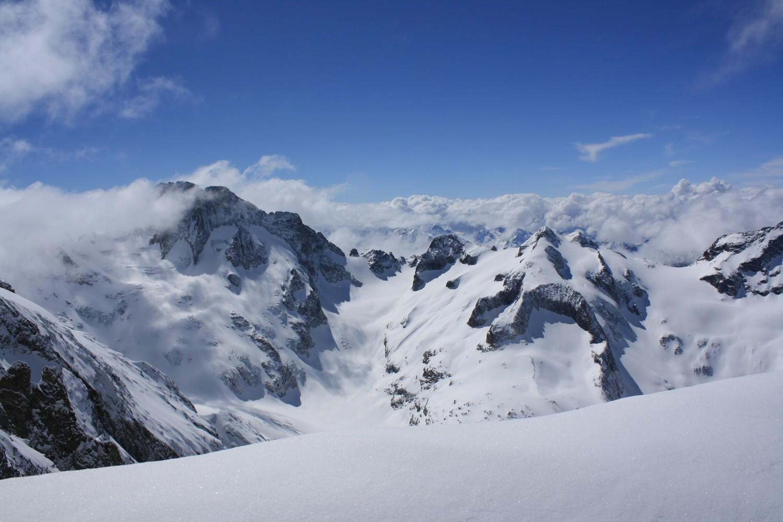 Les Bans et le Mont Gioberney depuis le haut du Glacier Long