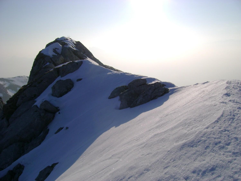 Grande Jumelle: vue sur le sommet depuis l'antécime