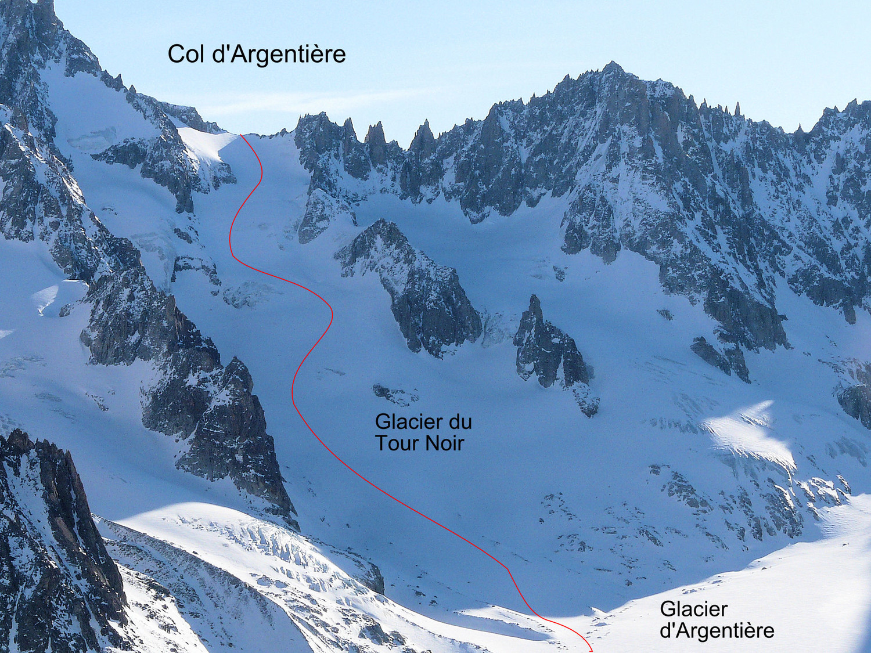 Le col d'Argentière (versant W)