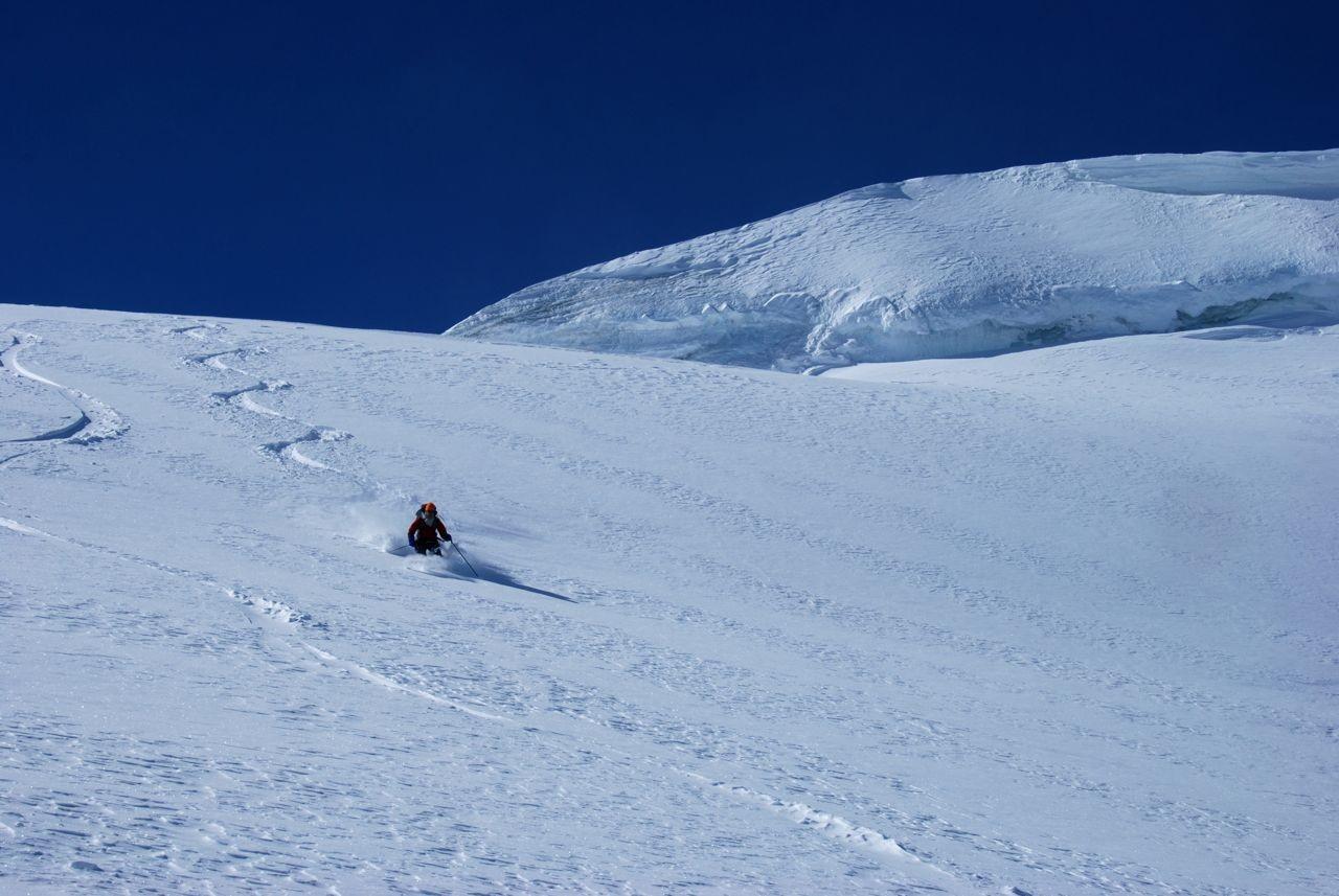 good snow below the summit