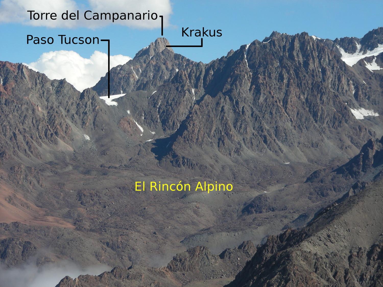 Vista al Paso Tucson desde la cumbre del Cerro Punta Negra (marzo 2008)