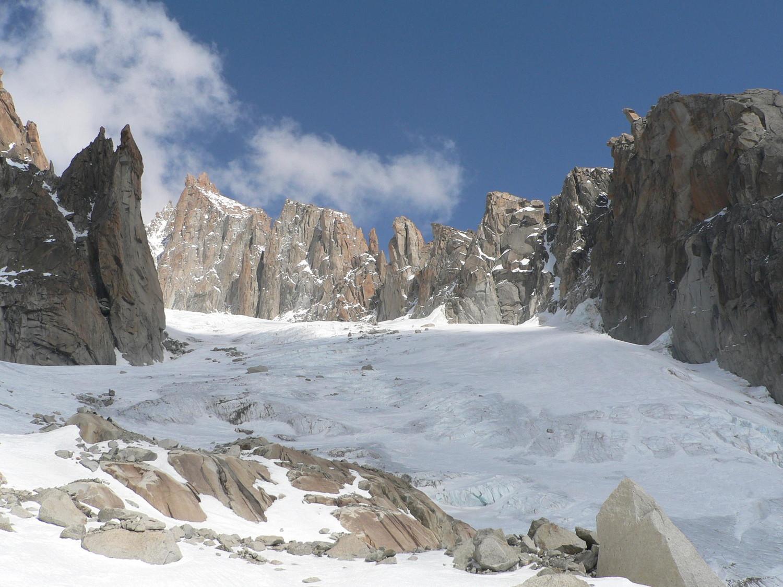 Bas de la descente du glacier du Milieu.