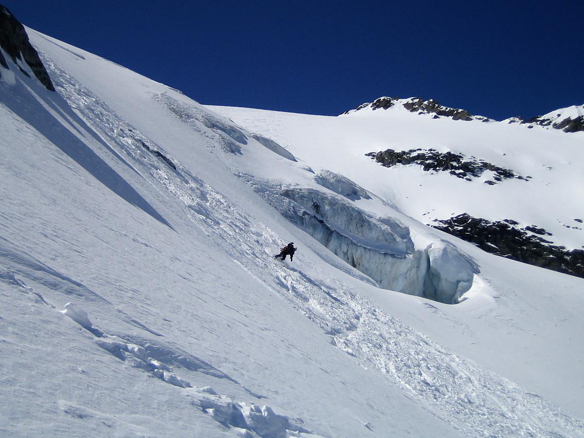 Dans la partie la plus raide du Glacier de Troquairou