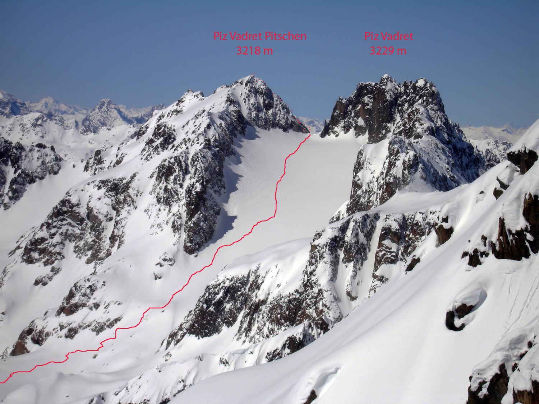 Itnerario al Piz Vadret Pitschen 3218 m dalla Val Punt Ota.
