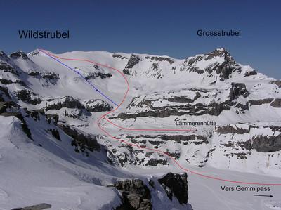 Wildstrubel depuis Gemmipass ou Lämmerenhütte (en bleu variante descente)