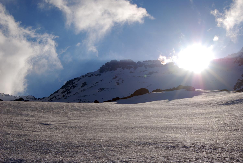 Il versante W del Pizzo di Sterla 2948 m dalla Valle di Sterla