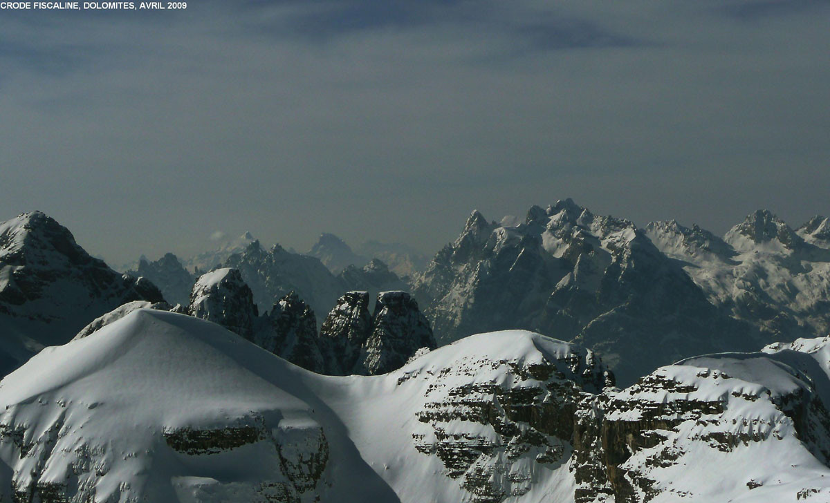 Depuis les crode Fiscaline (Dolomites de Sesto), vue vers le Sorapiss