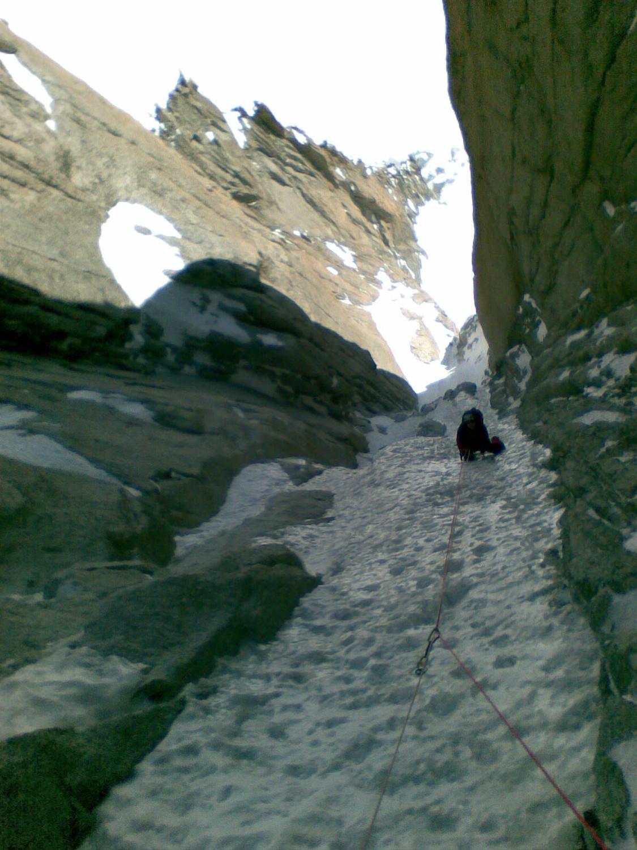 super couloir, dans les pentes de glace