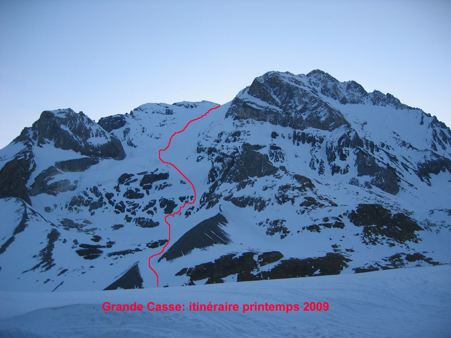 grande casse   via the grands couloirs  standard route