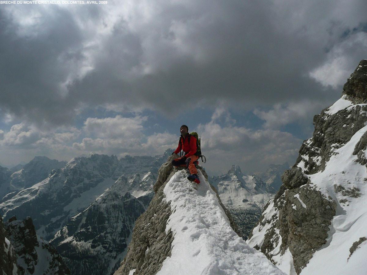 Brèche du Cristallo (Dolomites), vue vers le sud et le massif du Sorapis/Antelao