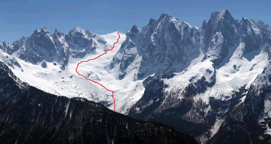 La Cima della Bondasca 3289 m vista da Plän Vest 1821 m