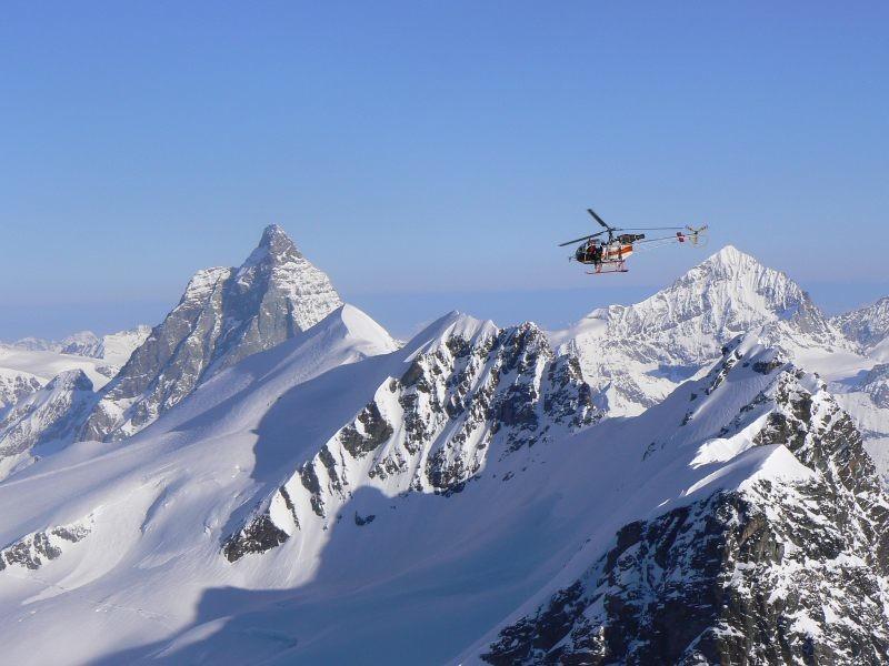 Cervino ed elicottero per le riprese televisive