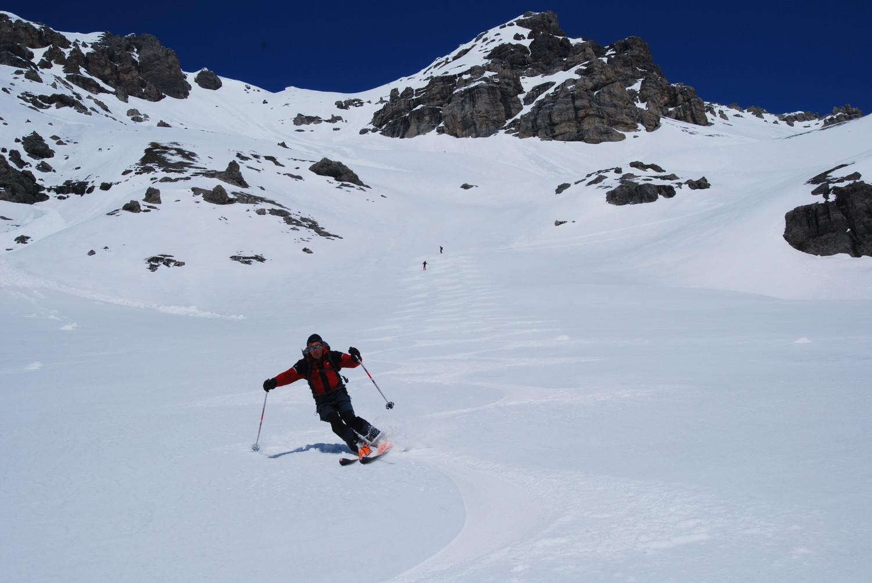 Gianluca su neve superlativa in Val Cancano.