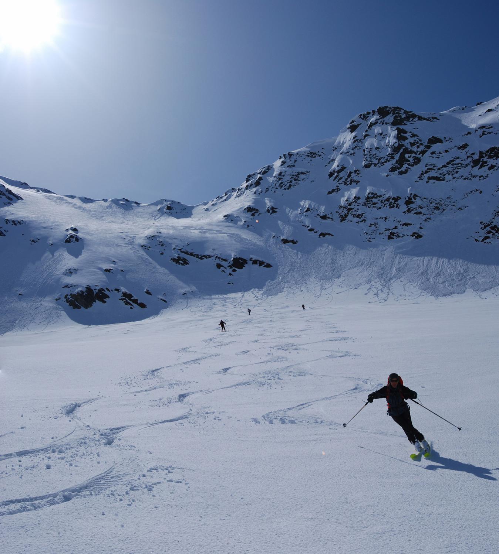 Nadia (Scricciolo)  sulla Vedret Valtorta scendendo dal Piz Fless 3020 m.