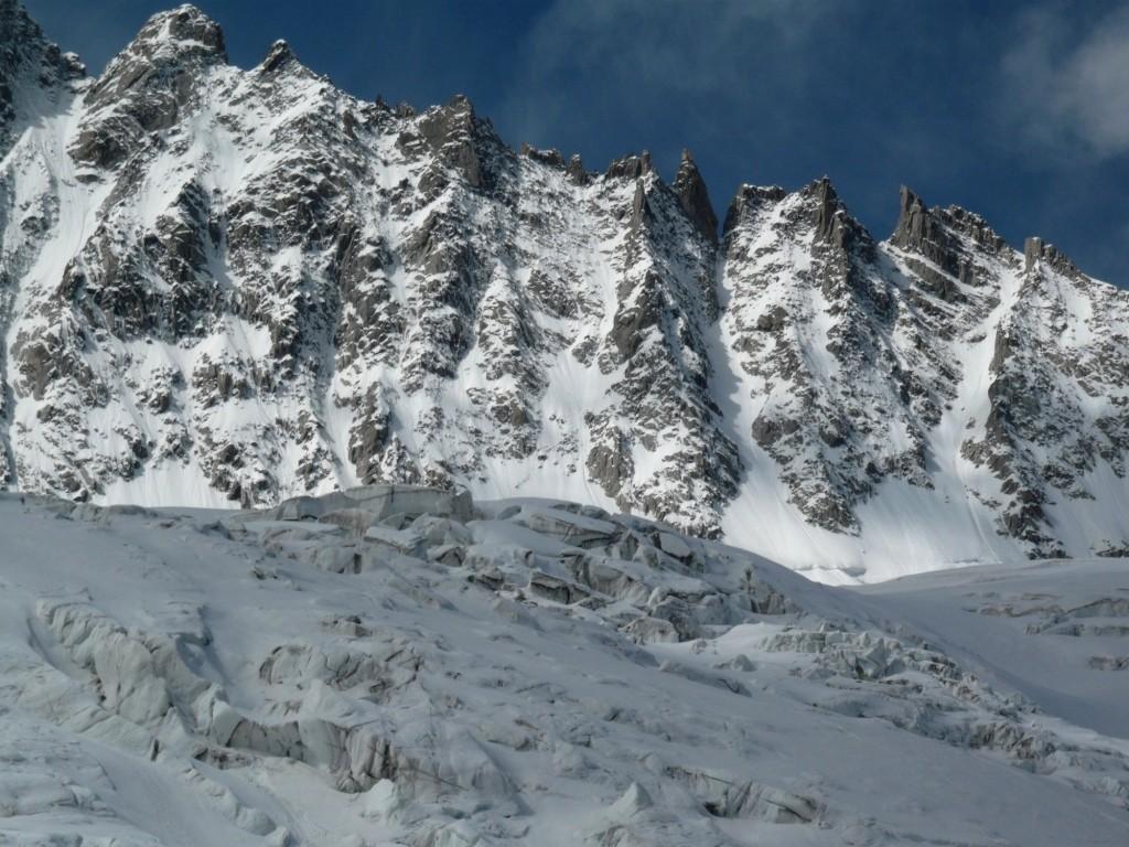 L'arête des Grands Montets et ses couloirs versant Argentière