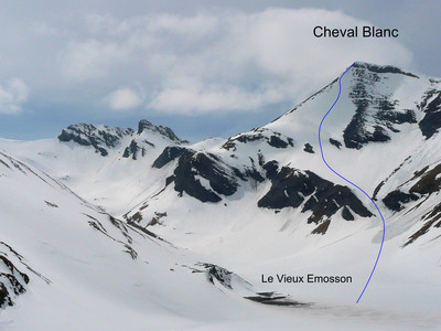 Cheval Blanc (Emosson)  Variante :descente face E