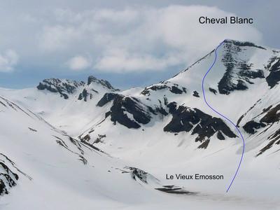 Cheval Blanc (Emosson) descente face E