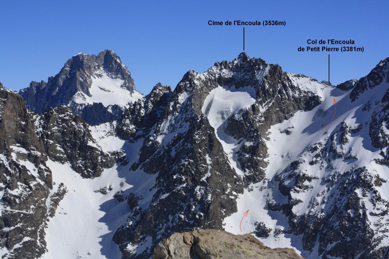 Barre des Ecrins, Cime de l'Encoula et Col de l'Encoula de Petit Pierre, depuis le Glacier des Fétoules
