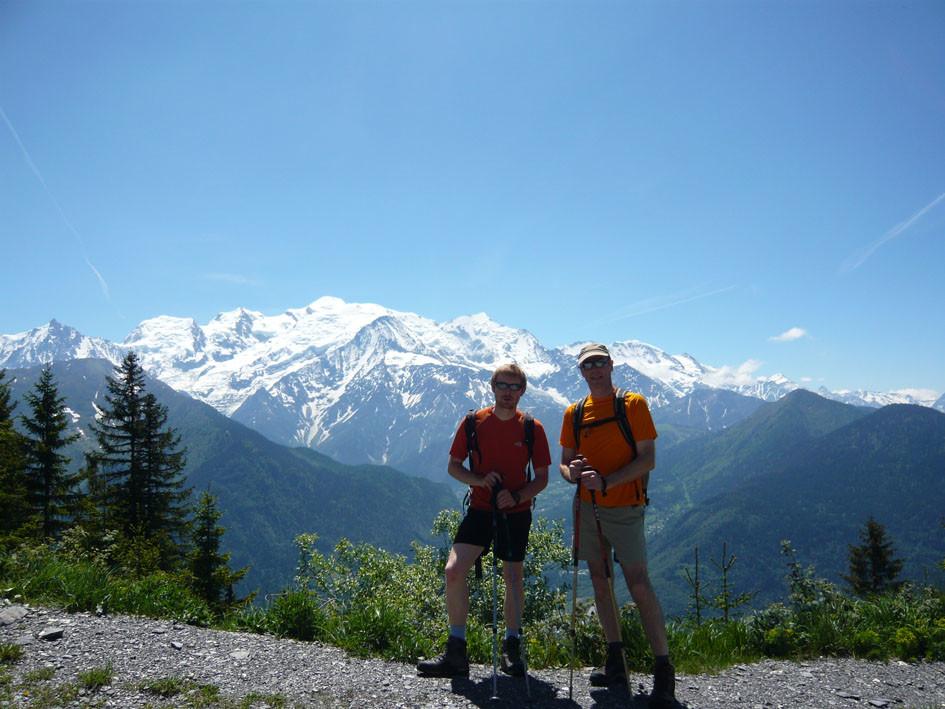 David, Eric et le massif du Mt Blanc