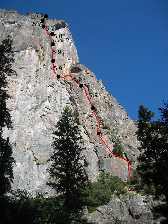 "La voie ""Northeast Buttress"" de Higher Cathedral Rock (Yosemite)"