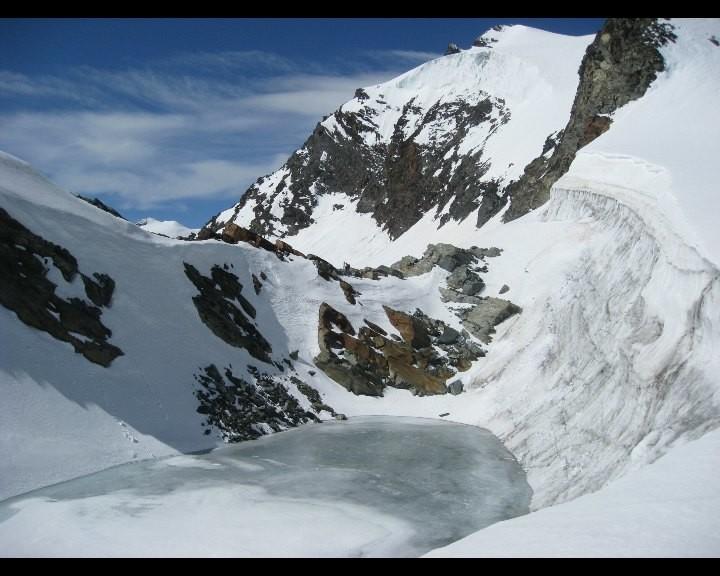Passage du lac au Hangendegletscherjoch