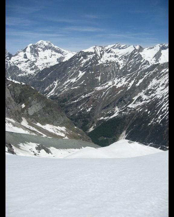 Descente de la moraine du Hohlaubgletscher et Weissmies
