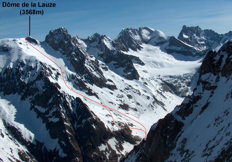Le versant S du Dôme de la Lauze (et environs), depuis le Col de Burlan