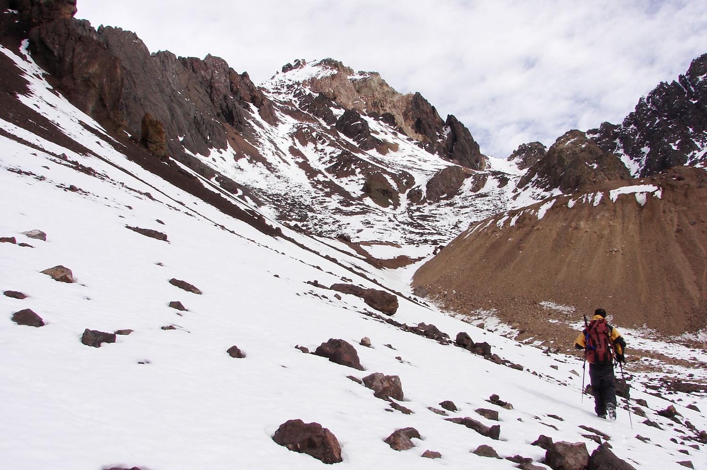 Llegando al pie de la ladera noroeste