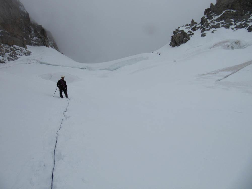 glacier de descente (crevases impressionnantes)