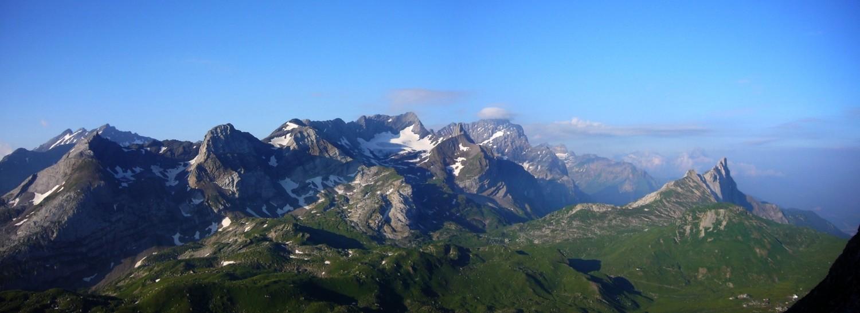 Panorama depuis le Col du Refuge en direction du Grand Muveran, Tête à Pierre Grept, Pierre qu'Aboste, Argentine...