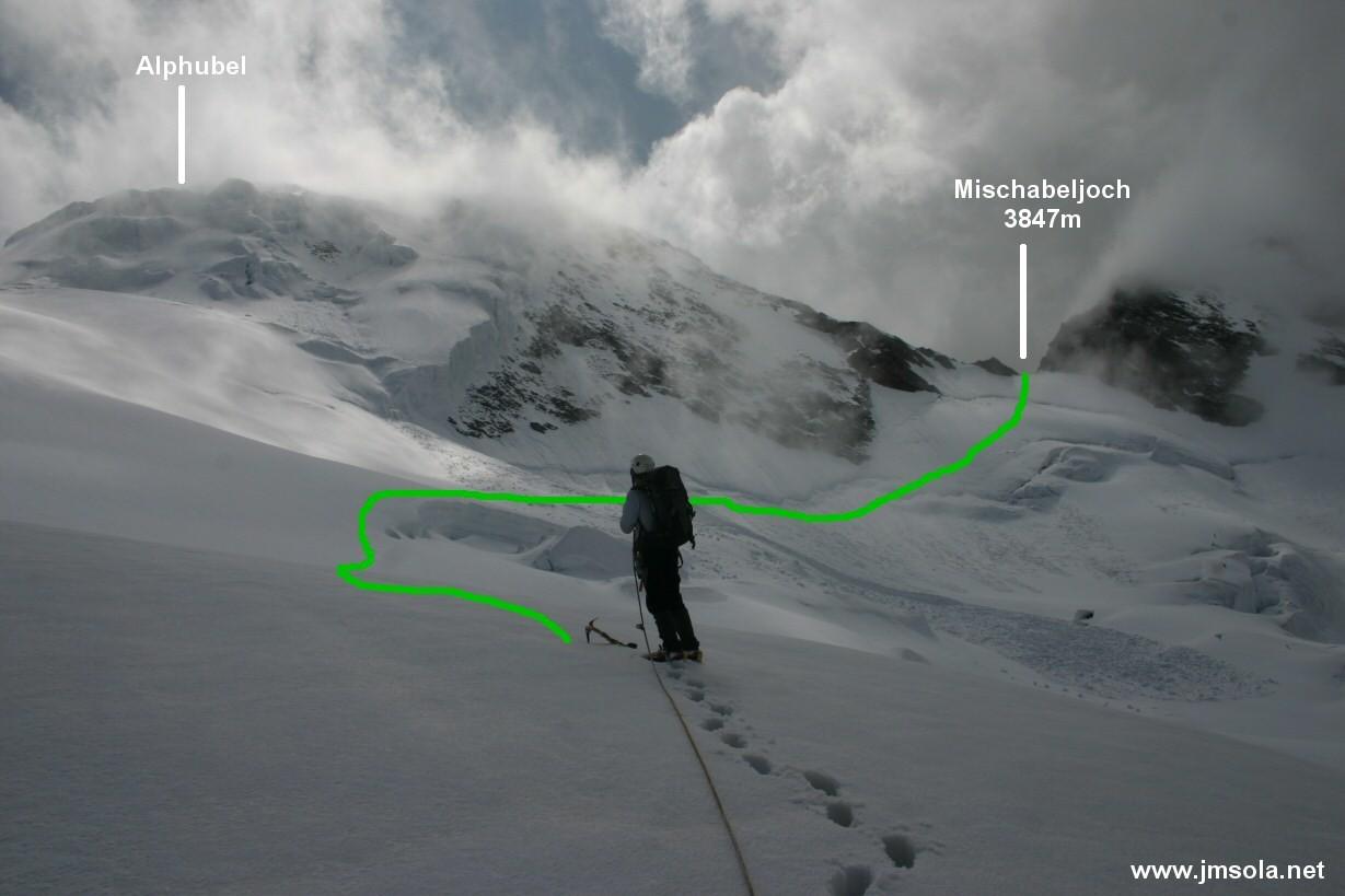 Partie superieure du Feegletscher, depuis plateau 3550m