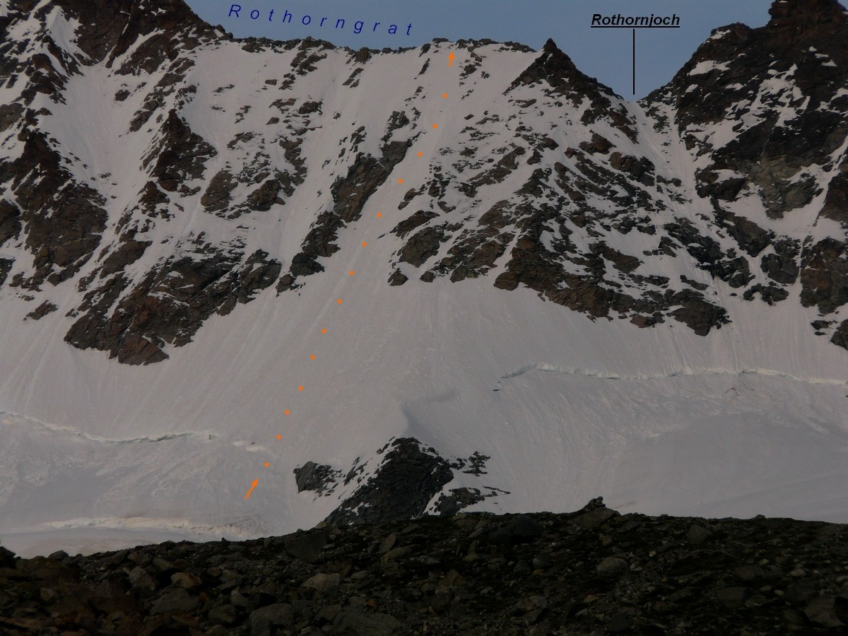 Rothorngrat - accès versant Mountet