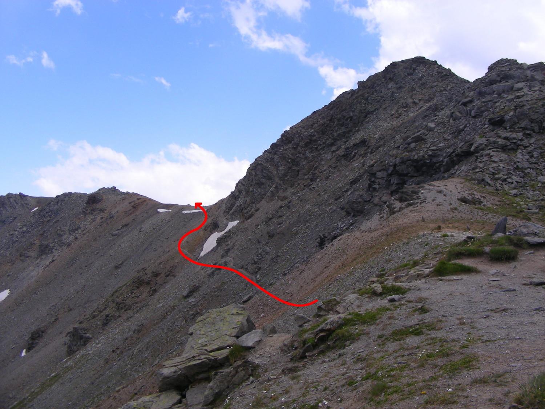 Le contournement par le NE du point 2791m, vu du Col des Marches